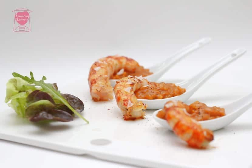 Creamy rice with kingprawns